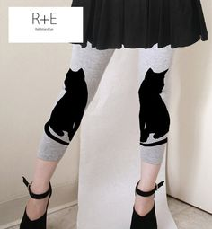 Two Black Cats Womens Gray Leggings Style by rabbitandeye on Etsy, $28.00