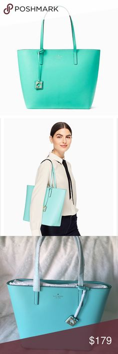 "NWT Kate Spade Haven Street Maxi ♠️ Gorgeous 😍 Soft Aqua Haven Street tote by Kate Spade. Debuted 1/21/17 💝 All reasonable offers considered! SIZE: 11.7"" h x 12.9"" w x 5.5"" d MATERIAL · smooth leather with matching trim · capital kate jacquard lining · 14-karat light gold plated hardware DETAILS · shoulder bag with zip top closure · interior zipper and double slide pockets kate spade Bags Totes"