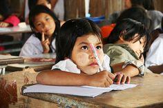 A little girl studies at New Blood school. Burmese children, migrant, child, refugee