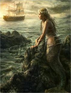 Vintage style print of mermaid with ship out to sea.  Gorgeous !