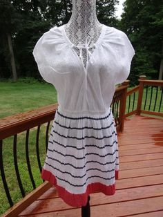 FRENCH CONNECTION White Blue Stripe Crinkled Cotton Beach Dress L $98 NEW #FrenchConnection #CoverUp