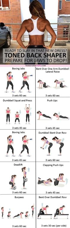 #womensworkout #workout #femalefitness Repin and share if this workout gave you a toned back! Click the pin for the full workout. by tracy sam