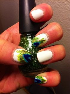 ..love peacock feathers...Peacock Nail painting