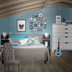 A comfortable room, I used lots of blues and cyans, along with a few grays to give this bedroom a cozy look.print out retro photos, using a black and white setting on your printer for a retro look. I settled on a typewriter. You can also frame your images, and I chose just some standard black frames. The small ukelele was just an original. I painted it sky blue and added some white finishes. Please follow if you like this room. Thanks!
