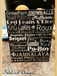 Check out this item in my Etsy shop https://www.etsy.com/listing/156488080/new-orleans-food-art-i-love-new-orleans
