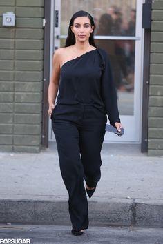 Kim Kardashian went with an all-black ensemble for her errand run in LA on Thursday.