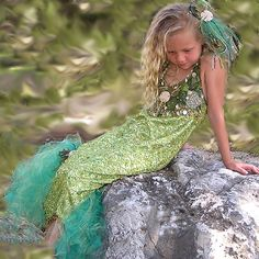 mermaid costume idea for Ashtyn....I like the long dress, would have to make a better tail though