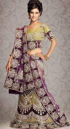 Olive Green Net #Indian #Bridal #Lehenga Choli