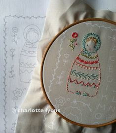 embroidered dolls or sampler on LINEN colored by charlottelyons, $11.00