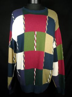Croft Barrow Mens Sweater Size Large 100% Cotton Multi Colored Blue Red Green #BlackFriday #eBay #TreatYourself http://r.ebay.com/l75H23
