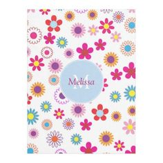 Modern cute funny colorful flowers personalized fleece blanket - monogram gifts unique custom diy personalize