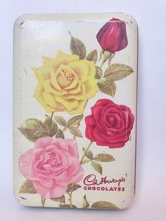 Vintage Cadbury Chocolates 12 Oz Tin ~ Mid Century Decor ~ Shabby Roses ~ Cottage Chic ~ Cookie Tin ~ Vintage Kitchen ~ 1950s Cake Tin