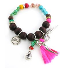Bibi Bijoux Wood Bead Bracelet with Tassel and Star Charms