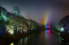 Durham Cathedral and river banks during the Lumiere festival