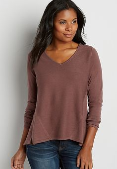 ribbed front pullover sweater with button and chiffon back in clove brown | maurices