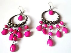 Pink or Green Jelly beads Dangle earrings