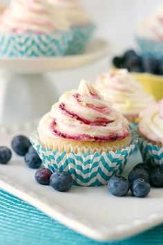 Blueberry Cornbread Cupcakes with Lemon Buttercream - Cupcake Daily Blog - Best Cupcake Recipes .. one happy bite at a time!