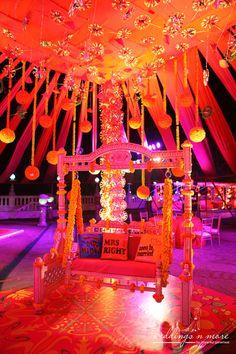 bride and groom seat , mehendi decor themes, rajasthani theme decor