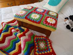 INSOMNIAC with a hook Granny square stool cover