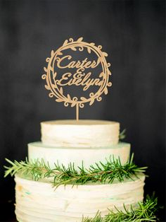 Personalized Rustic Cake Topper Custom Wood Names By WeddingRusticDeco On Wedding
