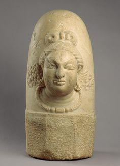 Linga with one face (Ekamukhalinga), Shahi period, 9th century, Afghanistan  Marble  This sculpture was made during the short-lived Shahi kingdom (seventh—ninth century) of eastern Afghanistan, which produced a small number of extraordinary sculptures. They were carved in a distinctive white marble and their style derived from sculptural traditions of northern India and Kashmir.
