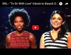 """SNL Farewell to Obama. Cecily Strong and Sasheer Zamata sing """"To Sir with Love"""" Beautiful Family, Beautiful Things, Social Justice Issues, Tony Abbott, Tv Station, Saturday Night Live, Snl, Famous Women, Reality Tv"""