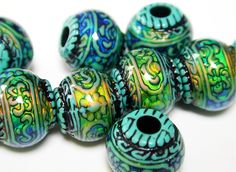 Blue-Mystique Mirage Beads, 10pc - pinned by pin4etsy.com