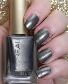 L'Oreal Miss Grey | Be Happy And Buy Polish http://behappyandbuypolish.com/2014/12/19/loreal-dark-sides-of-grey-nail-polishes-swatches-review/
