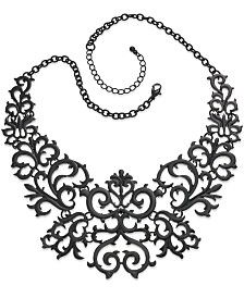 Thalia Sodi Necklace, Jet-Tone Lace Bib Necklace