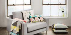 Love these geometric textiles for the home