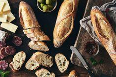 Crisp, crusty baguettes made simple. Flour Recipes, Bread Recipes, Sourdough Recipes, Savoury Recipes, Crusty Baguette Recipe, Country Bread, King Arthur Flour, Instant Yeast, Sourdough Bread