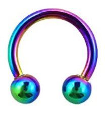 Rainbow Anodized 18G, 8 MM Round Circular Horseshoe Barbells Hoop Rings, Hypoallergenic 316L Stainless Steel Surgical Steel Ring lip, belly, nipple, cartilage, tragus, earring body Jewelry piercing - 18 gauge