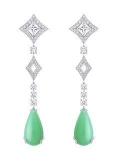 Louis Vuitton Acte V Metamorphosis high jewellery earrings featuring chrysoprase drops and diamonds.
