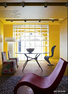 Contemporary living room in Daffodil Yellow from Cote Sud a French interior design magazine