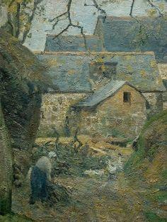 """Camille Pissarro (1830-1903) ~ """"La Ferme à Montfoucault (Mayenne), 1874 (Détail) ~ Huile sur Toile 60 × 73,5 cm ~ Musée d'Art et d'histoire de Genève"""