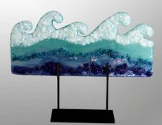 glass waves fused | Title: White Water Wave Technique: Layered,Colored w/ Glass, Fused ...