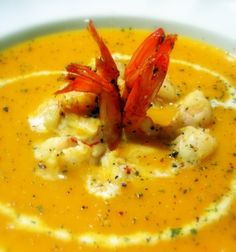 Cream of Pumpkin with Lobster Red Lobster, Thai Red Curry, Shrimp, Cake Recipes, Good Food, Appetizers, Pumpkin, Meat, Ethnic Recipes