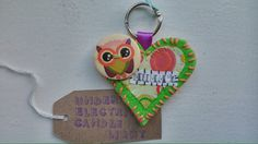 Handmade mummy keyring, green felt and owl button available from www.Facebook.com/underelectriccandlelight