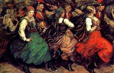 Władysław Teodor Benda, known as W.T. Benda [Polish-American, 1873-1948]: two paintings from a series depicting traditional Polish dances: Krakowiak Dance from Kraków, c. 1930 Zbójnicki Dance [dance of mountain rogues] from Podhale region at the foothills of Tatra Mountains, c. 1940