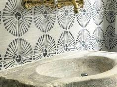 Spanish Bathroom, Spanish Tile, Tabarka Tile, Fireplace Surrounds, Tile Fireplace, Unique Tile, Clay Tiles, Guest Bathrooms, Handmade Tiles