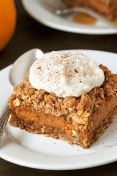 These super easy gluten-free pumpkin pie bars have an oat-based streusel crust as well as topping and are sure to be a hit at the Thanksgiving dessert table!