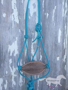 Turquoise and Gold Floral bronc rope halter. WhinneyWear