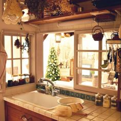 Interior kitchen counter is made to look like it has windows to the outside. Interior Exterior, Room Interior, Earthy Home, Small Cottage Homes, Cozy Kitchen, Country Kitchen, Kitchen Dining, Dining Room, French Style Homes