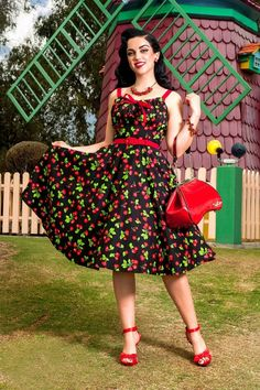 50s Molly Black Cherry Swing Dress. Pinup PhotoshootPinup Girl ClothingPinup  ...