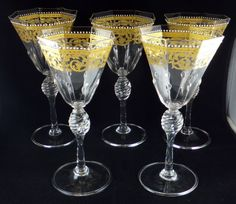Set of Murano glass gilt wine goblets by Salviati, Venice, Italy 10th Cent.