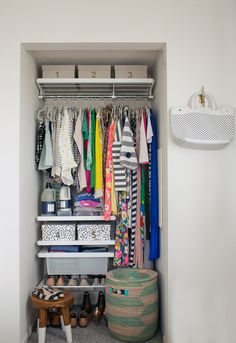 Beautifully Organized: Closets - Love the shelving near the bottom to force correct organization.