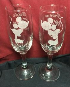 Mickey and Minnie wedding toast flutes, Engraved with your names and wedding date. Order at http://www.best-engraving.com/Mickey_Minnie_Mouse_Disney_Wedding_Champagne_Flutes.aspx