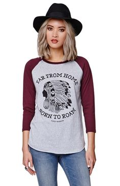 """The women's Raglan T-Shirt by Gypsy Warrior for PacSun and PacSun.com offers a crew neckline and graphic on the front. We love the casual raglan style. Wear this t-shirt with our joggers and casual kicks!27"""" length20"""" sleeve lengthMeasured from a size smallModel is 5'9"""" and wearing a small55% cotton, 34% polyester, 11% rayonMachine washableImported"""