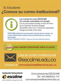 ¿Ey que esperas para usar tu correo ESCOLME y mantenerte informado? Recuerda solicitar tu correo institucional en comunicaciones@escolme.edu.co.