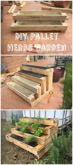 Pallet Stairs Planter Here is an original version of a small herbs garden. The stairs shape is perfect to save space and avoid backaches!Here is an original version of a small herbs garden. The stairs shape is perfect to save space and avoid backaches! Herb Garden Pallet, Pallets Garden, Small Herb Gardens, Outdoor Gardens, Pallet Stairs, Outdoor Pallet Bar, Garden Planters, Herbs Garden, Herb Gardening